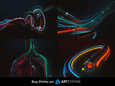 WIRES. Prints Set cyberpunk sci-fi scifi green blue red yellow glow glass dark texture spiral neon abstract poster artstation wire 3d wallart print
