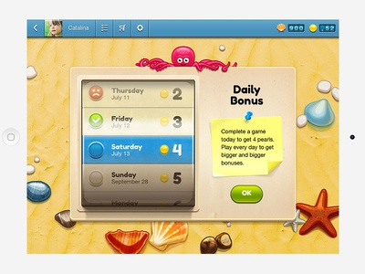 Daily Bonus ios game ipad retina kids math sand octopus carousel shell pearl starfish