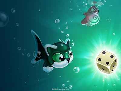 AQUA Poster aqua game rpg ios underwater illustration catfish whale dice creature bubble propeller head