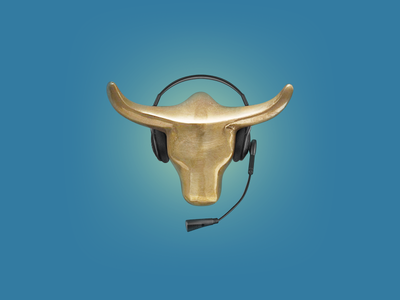 Support Bull process gold headset brokerage support bull retouching icon