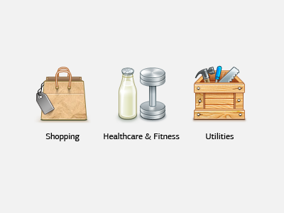 Some Icons 2 shopping paper bag healthcare fitness milk dumbbell utilities toolbox hammer