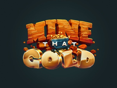 Mine That Gold mobile game process dig rock gold mining mine ps shapes vector logo