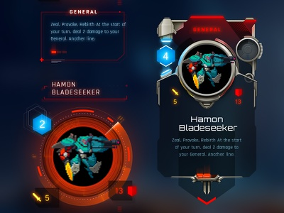Duelyst Cards glow icon stats futuristic hi-tech duelyst card game
