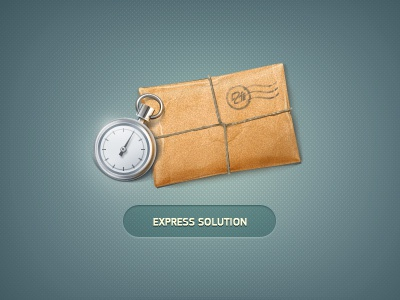 Express Solution stopwatch wrapper parcel string cord icon
