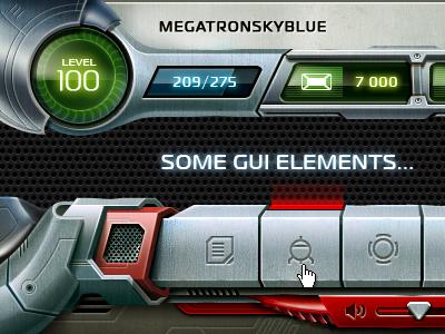 Some GUI elements gui game online social button sound metal progressbar robot
