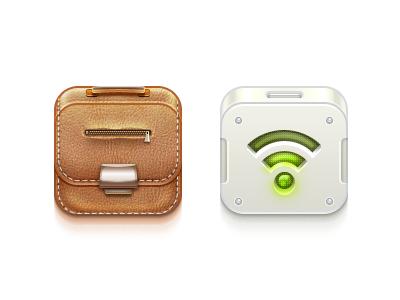 """Like iOS"" Icons (Part 2) icon ios briefcase leather zip seam stitch wifi light"