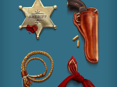 Freebie Cowboy Iconset freebie cowboy icons iconset stitch gun revolver hat boot bag brandy bullet sheriff star whip shawl knife horseshoe leather metal blood thread wild west hay holster wood