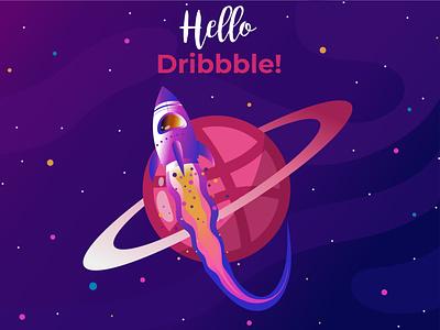 Hello dribbble! space rocket planet hello world first shot dribbble invite illustration