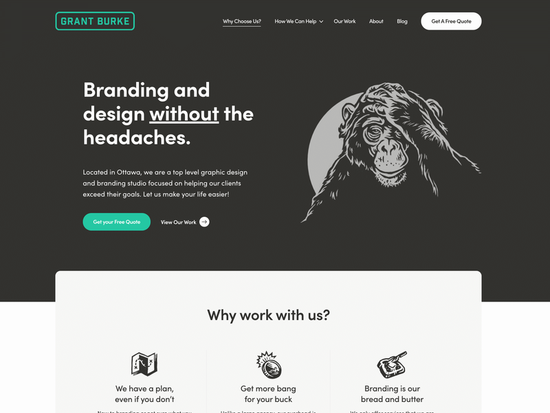 Grant Burke Website hero image header illustration modern black and white chimpanzee portfolio freelance designer hand drawn website illustration web design
