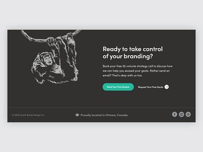 Footer Illustration monkey call to action banana black and white hand drawn chimpanzee website illustraiton footer web design