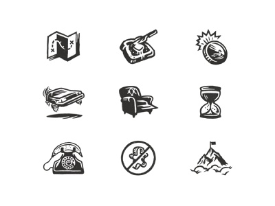 Illustrated Icons bread and butter chair hourglass flying car texture black and white hand drawn icon illustration illustrated icons iconography