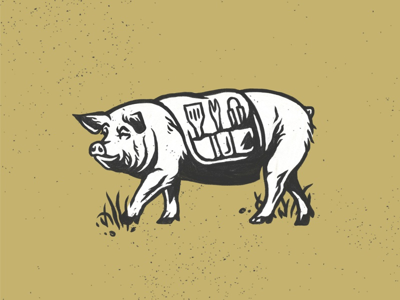 Barbecue Pig black and white hand drawn restaurant brewery barbecue pig illustration