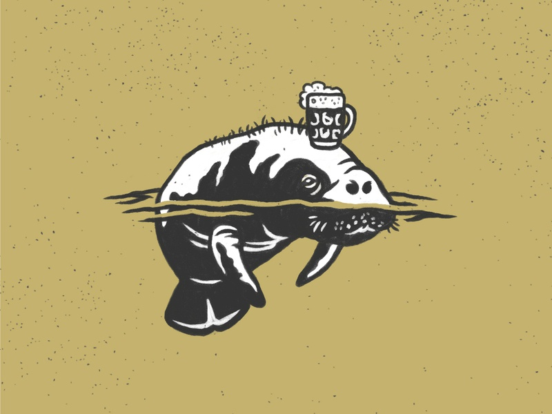 Manatee Pint black and white logo manatee illustration hand drawn restaurant brewery beer glass