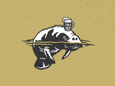 Manatee Pint black and white logo manatee illustration hand drawn restaurant brewery beer glass