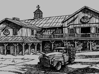Barn Ink Drawing