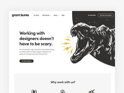 Hero T-rex Illustration website concept portfolio header hand drawn dinosaur t-rex illustration hero website