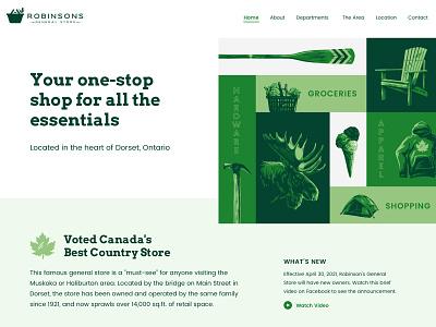General Store Website linocut paddle camping moose rural outdoors hand drawn hero web design website illustration