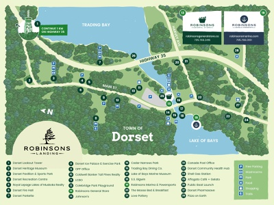 Illustrated Tourism Map muskoka lake forest hand drawn map tourism illustration illustrated map