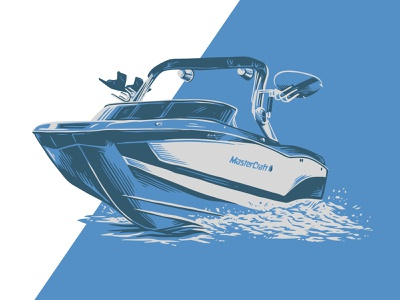 Marina Illustration pen and ink outdoors hand drawn cottage water wakeboard boat illustration marina