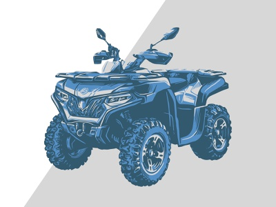 Powersports Illustration pen and ink outdoors blue hand drawn four wheeler atv illustration powersports