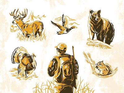 Public Land Hunter Cover hunting goose squirrel black bear magazine cover hand drawn turkey deer hunter illustration
