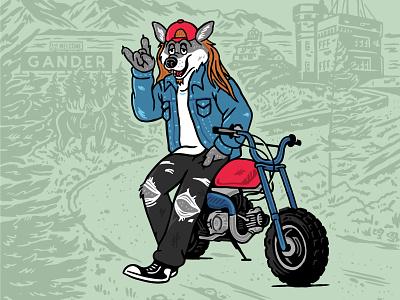 Atlantic Cannabis Illustration punk cannabis landscape hand drawn forest character design illustration newfloundland atlantic motorcycle wolf