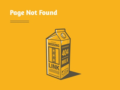 404 Milk 404 page missing link portfolio site milk carton yellow ui design illustration web design icon