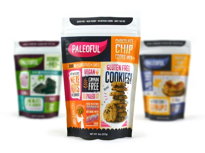 Paleoful Packaging series product line branding pink orange vegan cookies bag food product paleoful packaging package design