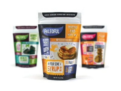 Paleoful Pancake Mix series product line branding blue vegan yellow bag food product paleoful packaging pancakes package design