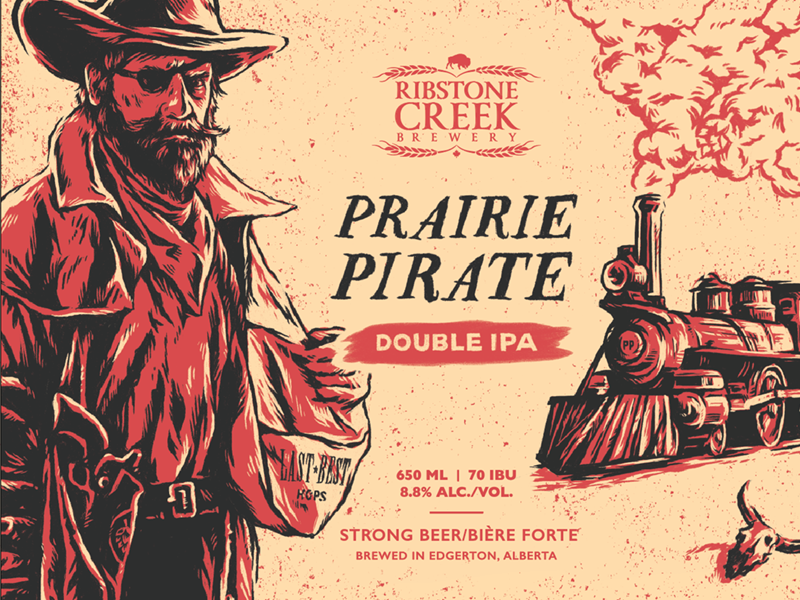 Prairie Pirate IPA beer label brewery hops outlaw locomotive steam train cowboy pirate