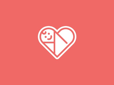 Baby Heart brandmark family child infant love heart swaddle icon baby logo design