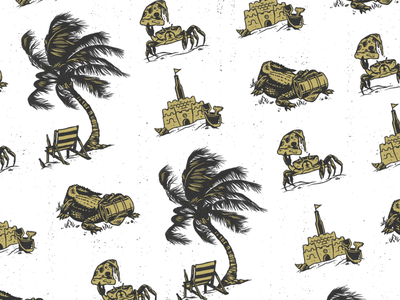Magic Waters Brewery Pattern beer handdrawn sandcastle gator palm tree brewery florida illustration pattern