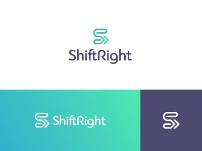 ShiftRight Logo System visual system agency bright color gradient arrows s monogram consultant brand identity logo design logo system