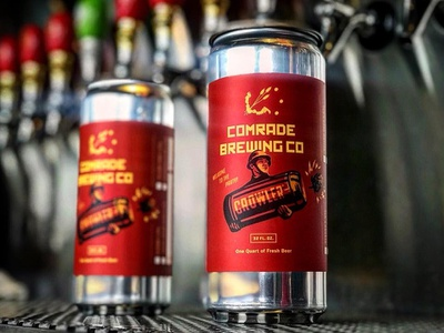 Comrade Brewing Crowler illustration brewery ussr label design beer can hops soviet comrade crowler