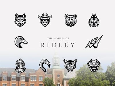 Ridley House Mascots animals school college houses illustration logo design mascot logo mascots