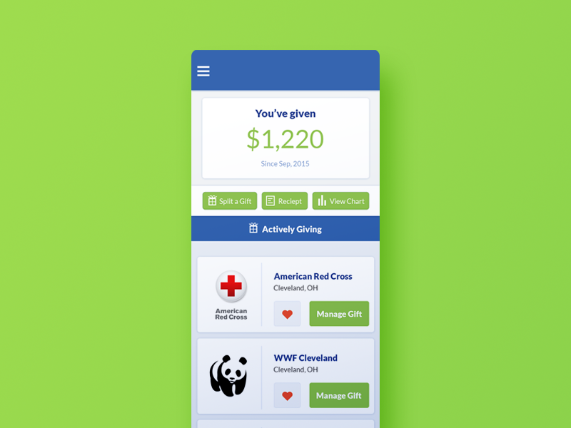 GiveNext Account Page responsive web charities charity gift donate give cards page account ui ux