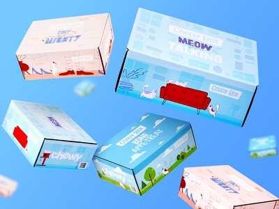 Floating Boxes product party falling fun packaging illustration cat dog pet blur floating boxes