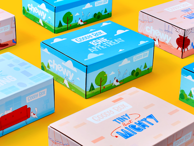 Goody Box product party colorful fun chewy packaging illustration cat dog pet isometric boxes