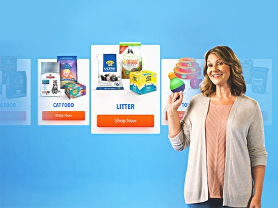 Commercial UI illustrator buttons fade ar commercial chewy food pet bright floating cards ui