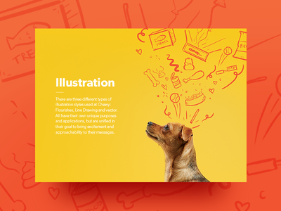 Chewy Brand Book: Illustration Section illustrator chapter brand book shadow bright dog card line drawing illustration