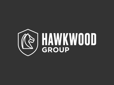 Hawkwood Group Logo monoline line shield horse type identity mark graphic design typography logo branding icon design