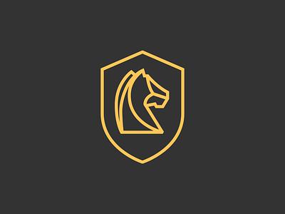 Hawkwood Group Mark shield horse monoline lines simple identity mark graphic design logo branding design illustration icon