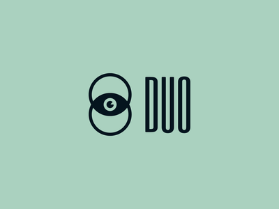 Duo Logo negative space eye identity mark graphic design typography logo branding design illustration icon