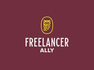 Freelancer Ally Logo ally freelancer freelance owl mark typography logo branding design icon