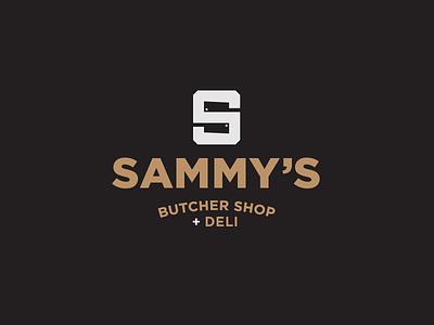 Sammy's Logo negative space knife cleaver butcher deli restaurant illustration icon mark branding brand logo