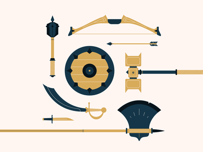 Weapons mace axe hammer arrow bow shield dnd knife sword weapons flat design vector icon illustration