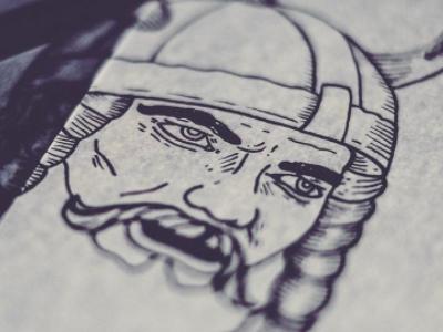 Viking Drawing Label handdrawn illustration