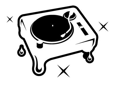 Dripping turntable logo study music turntable dj 1200 candy honey drip drops syrup liquid logos identity