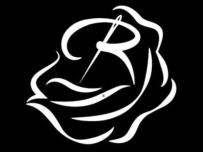 logo for Roseland Handmade  rose flower monogram custom hand-drawn r needle sewing hand-made craft skill artisan
