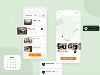 CafeFinder - Mobile App Design calendar ui interaction review free reservation calendar clean design attachment download ux ui mobile ui ios app illustraion location app adobe xd animation mobile design map mobile app